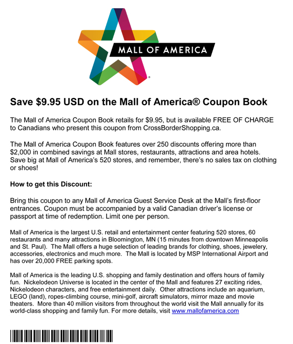 picture regarding Mall America Printable Coupons called Shopping mall of The usa - Bargains and Discount coupons inside Minneapolis and