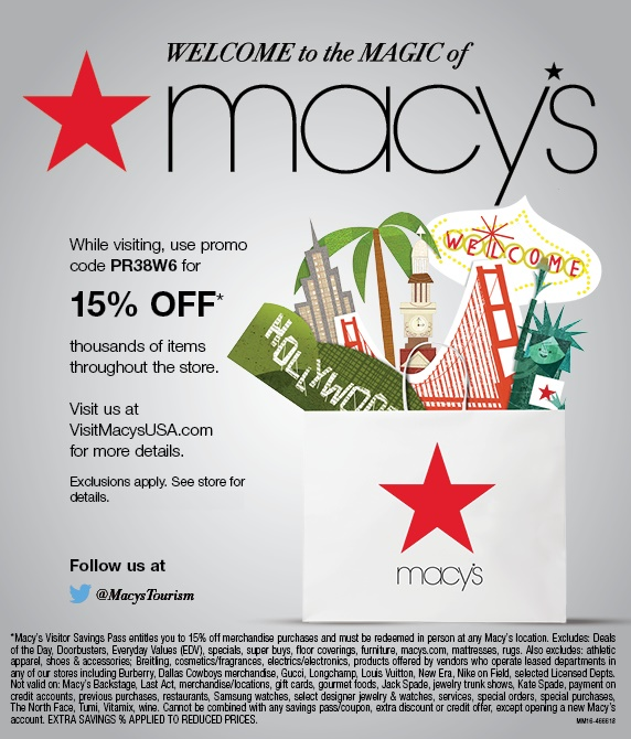 Macy's Canadian Visitor Savings Pass for Cross Border Shopping